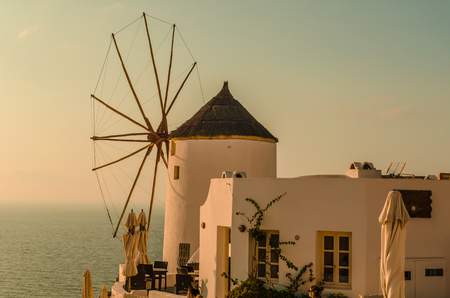 antiquity: SUNSET OVER THE MILL OF THE GREEK ISLAND - OIA - SANTORINI