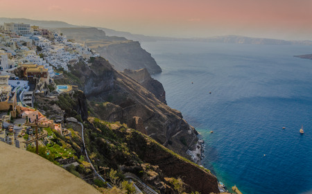TOWN ON VOLCANIC CLIFFS IN FIRA - SANTORINI - GREECE Stock Photo