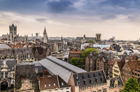 View of the center of the historic city of Ghent with its channels