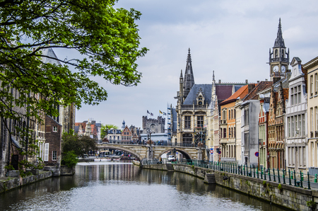 Navigating one of the canals of the Belgian city as it passes through the center of the city