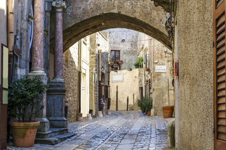 erice: Entries with ionic columns of marble streets with drawings of cobblestones and gothic arches characterize this city