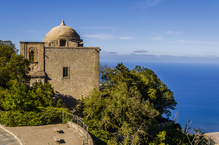 erice: Panoramic view of a church and mediterranean background in the city of erice sicily Stock Photo