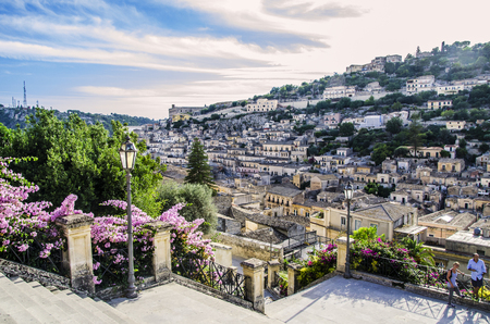 Panoramic of the city of Modica built on hills