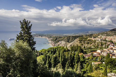 erice: View of the coastline sicilian territory with its vegetation and mountains in the vicinity of the city of taormina Stock Photo