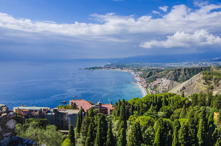 Geography of the sicilian coast seen from the city of taormina Stock Photo