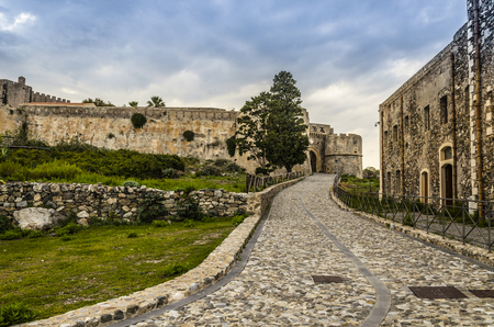Street access to the old Norman fortification in the city of milazzo sicily italy Stock Photo