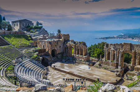 Close-up of ancient greek theater of taormina italian coast and mediterranean sea sicily