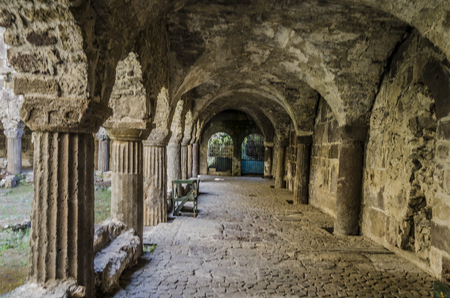 After the Arabs left the island of lipari the Normans built this cloister of the Benedictine monastery for the year one hundred and thirty-one Stock Photo