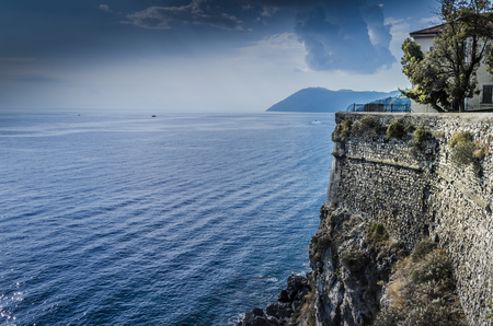 Walls of the coastal defensive fortress on Lipari Island and panoramic views of the Tyrrhenian Sea