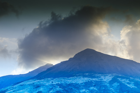 Top of the stromboli volcano surrounded by its fumaroles island stromboli italy
