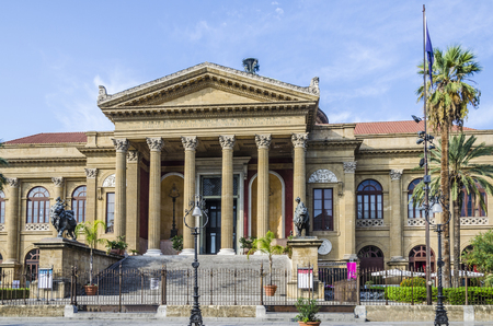 facade of the biggest opera theater in italy called theater massimo in the city of palermo Editorial