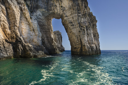 cliffs rocks and clear sea on the island of zakynthos or zante