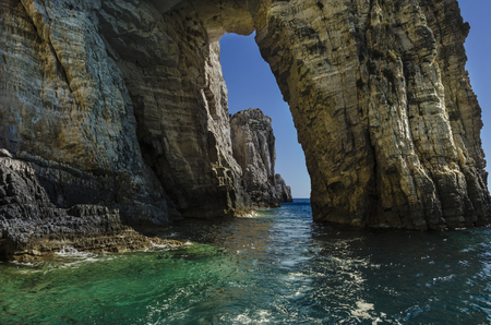 passage pierced by the Ionian sea on the shores of the island of zakynthos