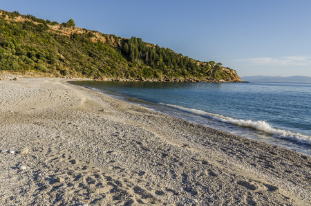 sunset on the beach of lourdata or lourdas on the island of kefalonia over the ionian sea