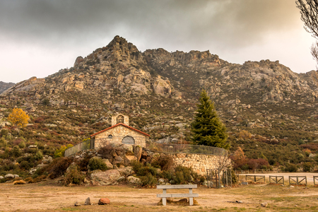 Hermitage of San Isidro very popular by the faithful in general livestock of the Sierra de Guadarrama in the vicinity of the town of El Boalo at the foot of the mountain Madrid Spain