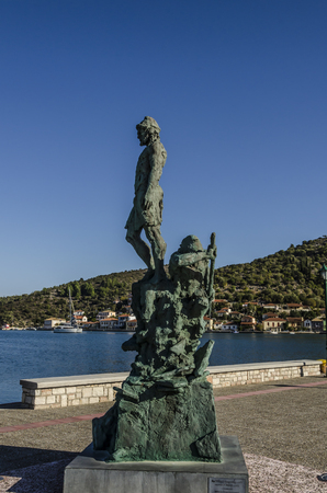Close-up of monument to Homers Odyssey in which Ulysses is depicted in the port of Vathy on the island of Ithaka