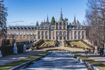Backside of the gardens and fountains of the royal palace La Granja de San Ildefonso in the Community of Segovia Spain