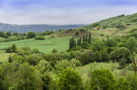 Panoramic view of the greens of the French countryside in the region of Occitania near the town of Conques