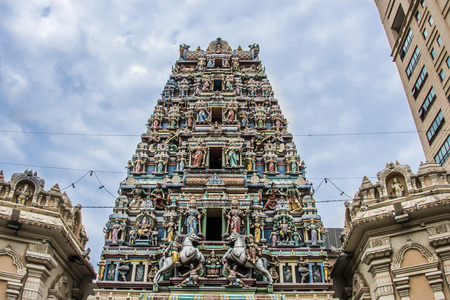 tower of Sri Mahamariammam Temple in the center of kuala lumpur malaysia Stock Photo