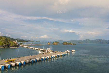 Panoramic view of harbor docks and back archipelago of langkawi in the malacca strait of andaman sea malaysia Stock Photo