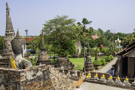 Ayutthaya historical ruins of the financial and spiritual capital of the vanished kingdom of Siam in 1767 when it was invaded by the Burmese. Declared a World Heritage Site by Unesco Thailand.