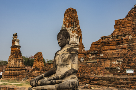 Buddha with ruins in the background of the ancient city of Ayutthaya which was the capital of the vanished kingdom of Siam. Thailand Фото со стока