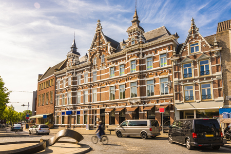 Old typical Dutch buildings and cobbled city of Breda. Netherlands Netherlands