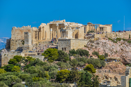 athens panoramic view of the entrance to the ancient acropolis. Athens Greek.