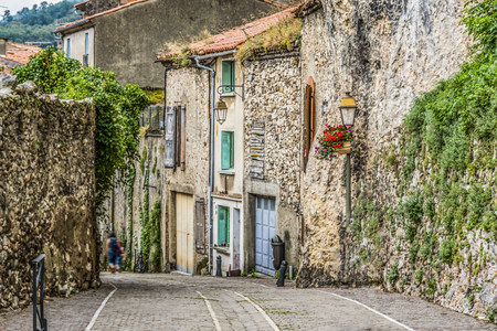 cobbled street of villa Foix village near the navarre pyrenees. ariege france