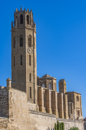 Close-up of the old Cathedral La Seu Vella, where the bell tower dominates the city of Lleida. Catalonia Spain
