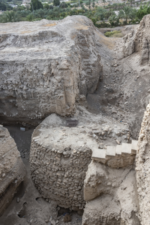 Considered one of the oldest archaeological finds in the world we see a Neolithic tower of nine meters 8000 BC archaeological site Tell es Sultan. West Bank Palestinian Jericho