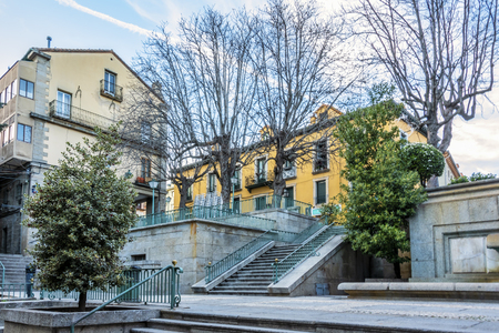 Stairs in a square of San Lorenzo del Escorial. Spain madrid. Фото со стока - 125237865
