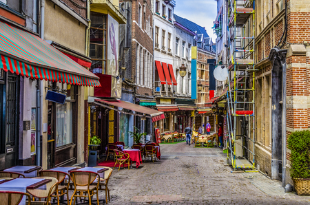 Tourist street with restaurant and terraces in the center of the city of Brussels. Europe Belgium