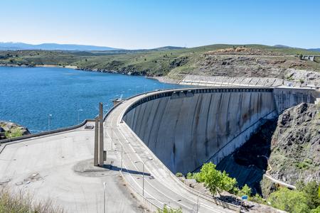Detail of the bridge dam of the Atazar. madrid Spain.