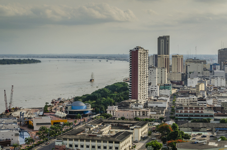 panoramic view of the guayas river and the city of guayaquil. Ecuador
