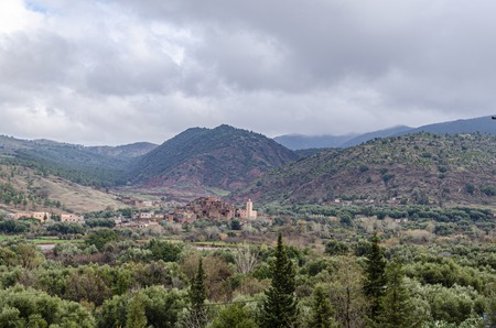panoramic view of imlil valley and a Berber village in the high Atlas mountains in the vicinity of marrakesh. morocco africa