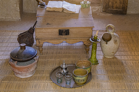 old utensils of student Islamic pupil. marrakesh morocco Banco de Imagens