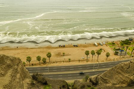 coast of the Pacific Ocean in the city of Lima at the height of the Miraflores neighborhood. Peru