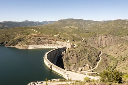 dam of El Atazar and in the background the village of Atazar. madrid Spain