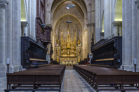 Interior of the Cathedral of Santa Tecla in the city of Tarragona. catalonia Spain Editöryel