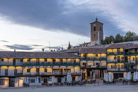 Sunset in the ancient and emblematic main square of the town of Chinchon considered the oldest in Spain. Madrid's community. Spain