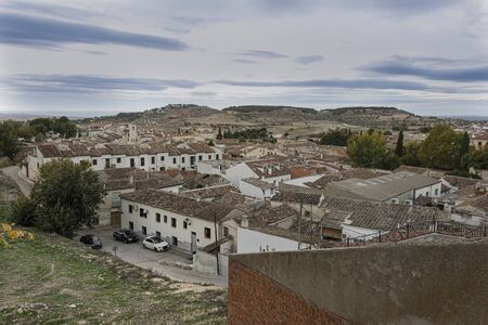 Aerial view of the outskirts of the old town of Chinchon whose center was declared a historic complex. Madrid's community. Spain