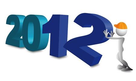 2012 3d blue Vector