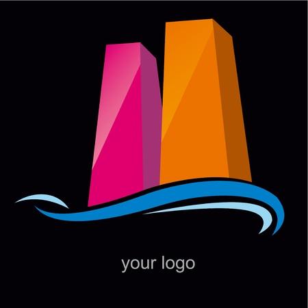 logo poisson: gratte-ciel noir