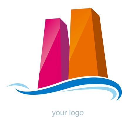 logo poisson: gratte-ciel