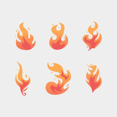 Flat premium blazing flame set. This assets hand-drawn manually.