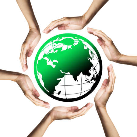 Green planet (Earth) surrounded by hands Stock Photo - 7772162