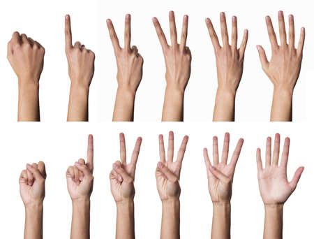 one finger: Female hands counting