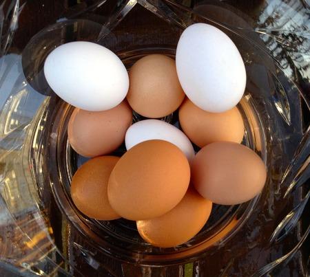white eggs: Eggs, white and brown Stock Photo