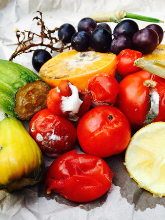 sorts: Different sorts of rotten fruit and vegetables on gray paper